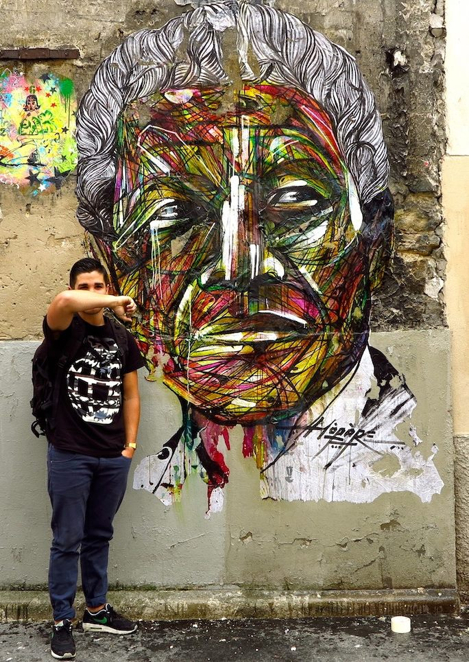 Street Art by Hopare of Nelson Mandela in Paris, France