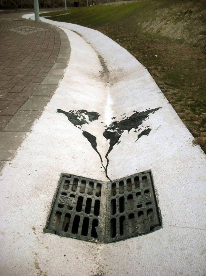 The world going down the drain – By Pejac in Spain