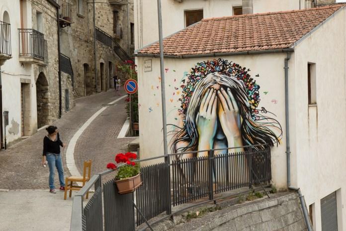 Street Art by Alice Pasquini in Civitacampomarano, Molise, Italy. Photo by Jessica Stewart 2