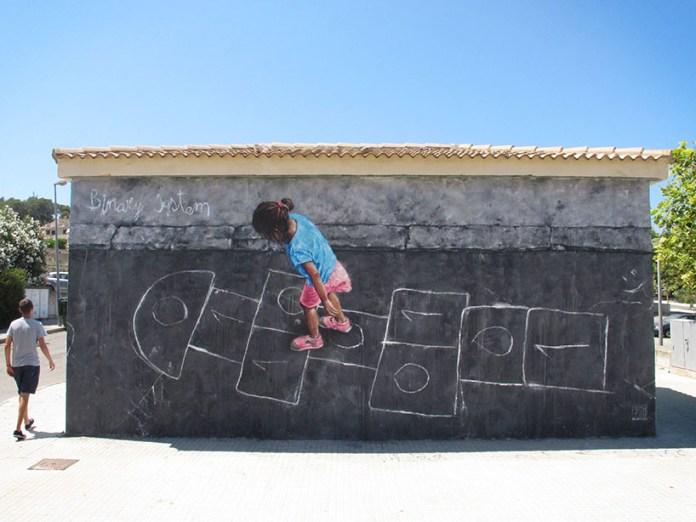 Street Art by Sath in Mallorca, Spain - Binary System