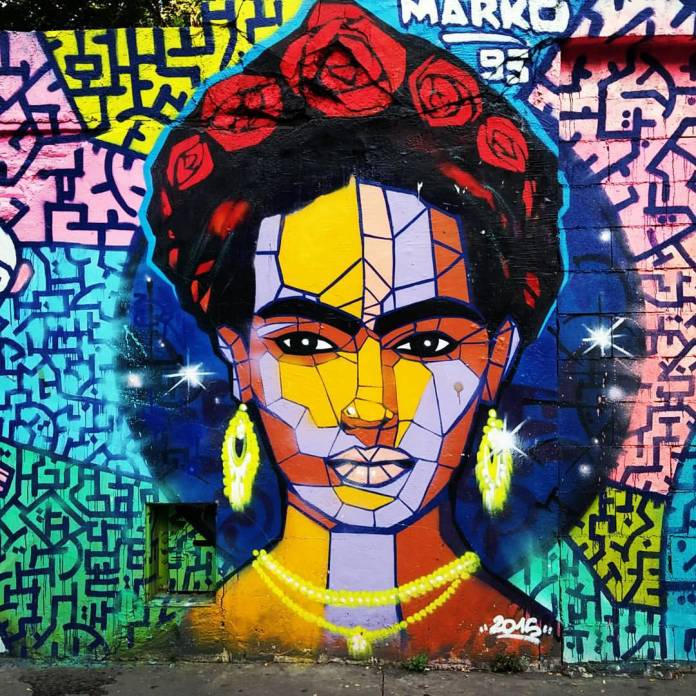Frida Kahlo - Street Art by Marko in Paris, France