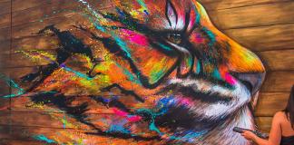 #streetart #tiger by #Sandrot at Underground Effect 4. In La Défense, #Paris, #France