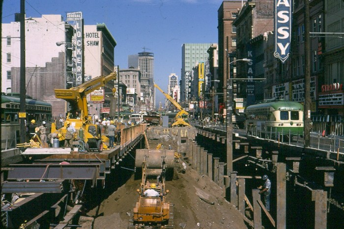 BART Civic Center Station Construction at Market and 7th Streets, late 1960s.