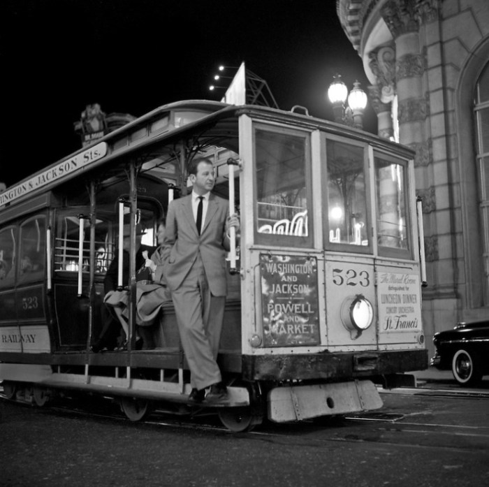 Herb Caen at the Powell and Market turntable, 1953. A wonderful photo taken by the great Fred Lyon, a San Francisco treasure himself (and a friend of Herb's). (c) Fred Lyon