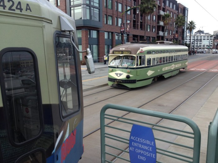 Vintage streetcars already run through Mission Bay and Dogpatch on their way in and out of service, so why not run E-line historic streetcars here?
