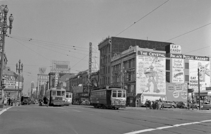 Looking east on Market Street from Eighth, 1942. Two thousand new apartments are currently being constructed where the old Crystal Palace Market and vacant lot were.