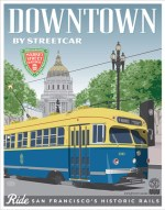 Downtown via Cable Car Poster