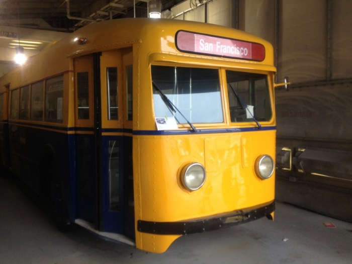 Muni's oldest trolley coach, No. 506, gets its original yellow front restored for the 2014 Muni Heritage Weekend.