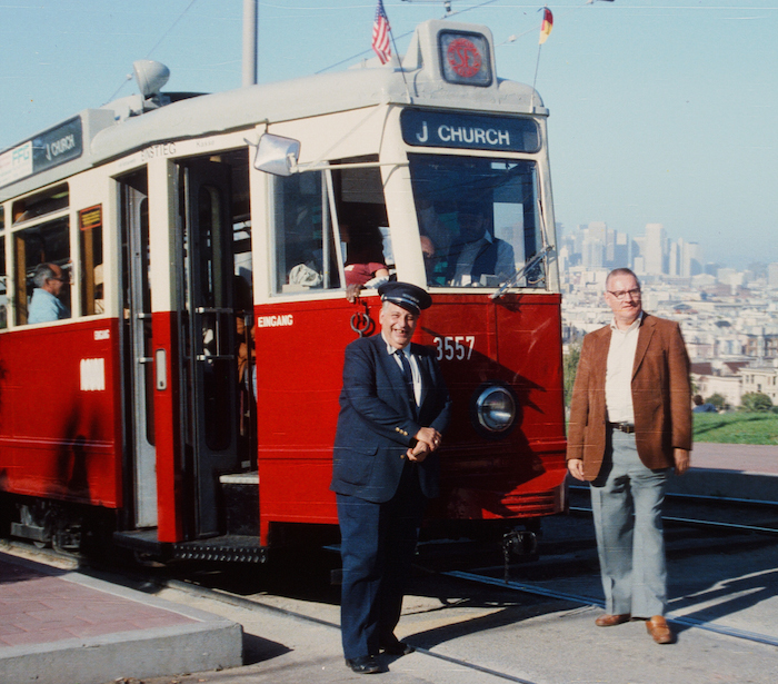 Maurice Klebolt (left) with his pride and joy, Hamburg tram No. 3557, about 1984, some five years  <a style=