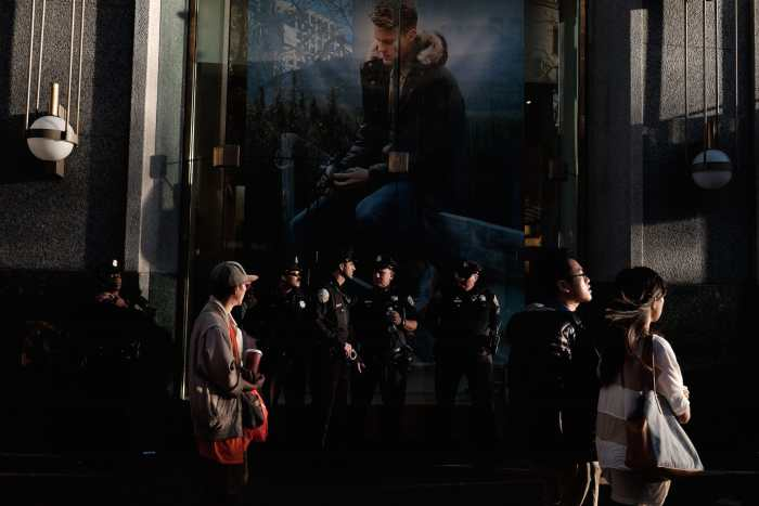 """Waiting for Ferguson"" by Mike Manzano. Market Street, San Francisco, CA, Nov 2014"
