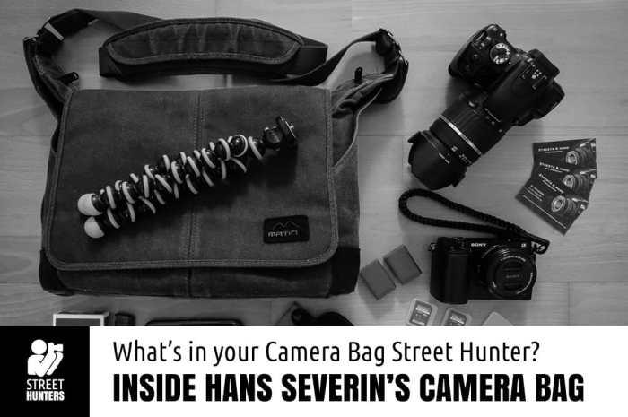 Inside Hans Severin's camera bag