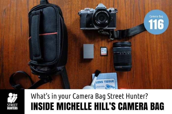 Inside Michelle Hill's camera bag