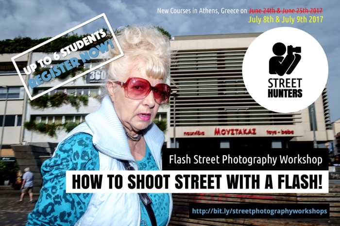 Flash Street Photography Workshop Athens July 2017