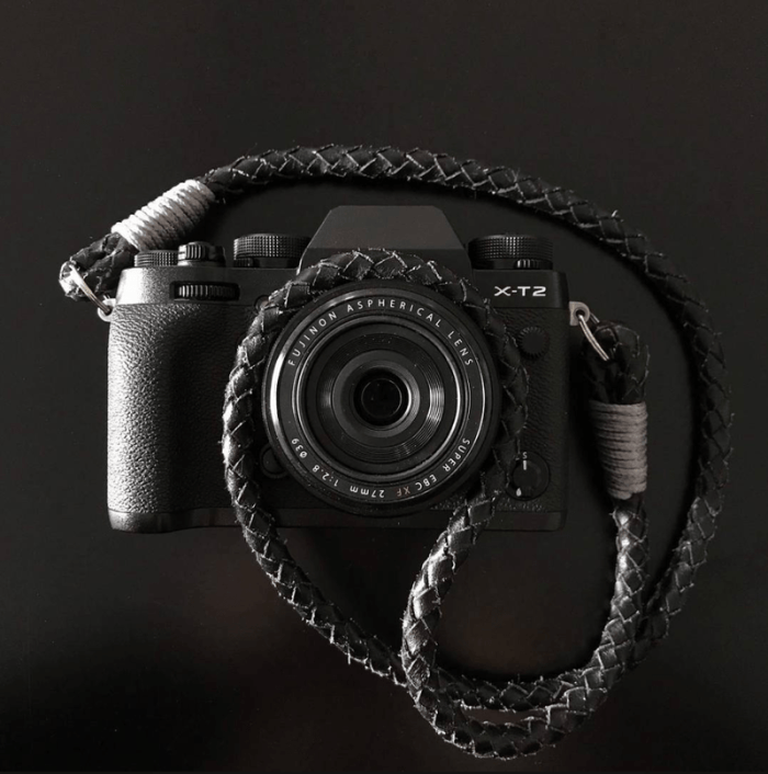 Hyperion Camera Straps - Black with Grey on X-T2