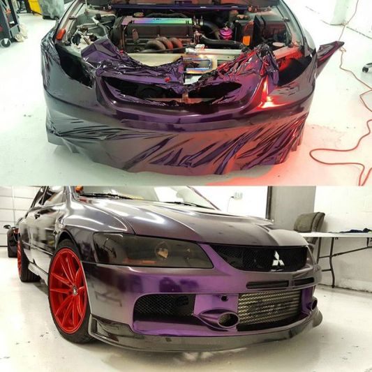 Evo 8 Bumper Being wrapped in KPMF Purple/Black