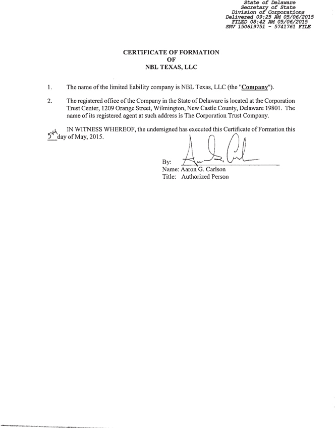 Form 8 K Nbl Texas Llc For Jul 20