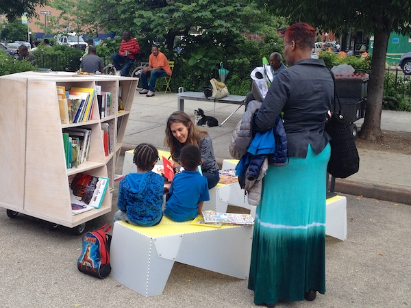 See more photos of Uni reading room, Putnam Triangle Plaza, Clinton Hill, Brooklyn. June 13, 2014
