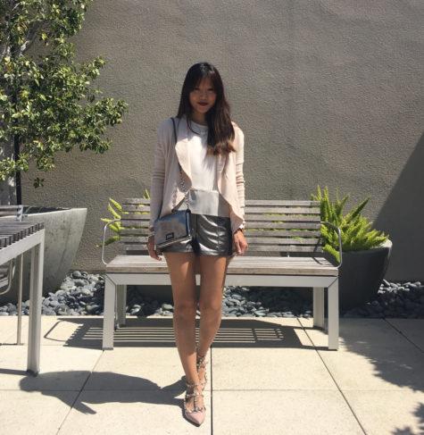 metallic shorts blush top