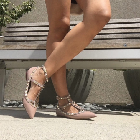 Kaitlyn Pan studded caged ballet flats valentino dupes