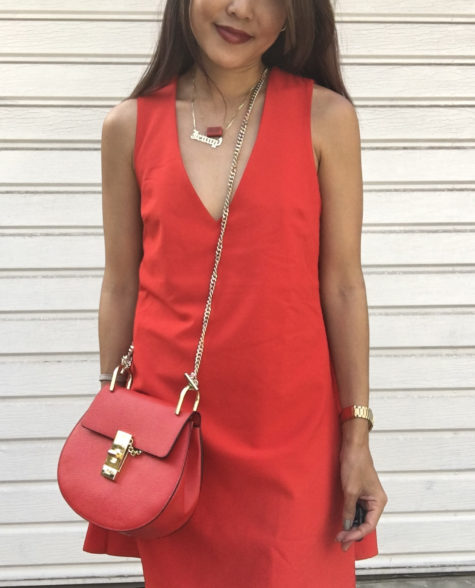 forever 21 red cape dress and red chloe drew bag