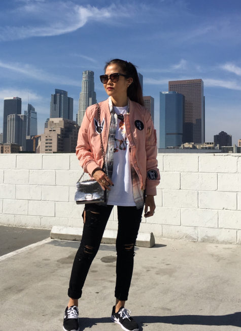 pink bomber jacket wit patches