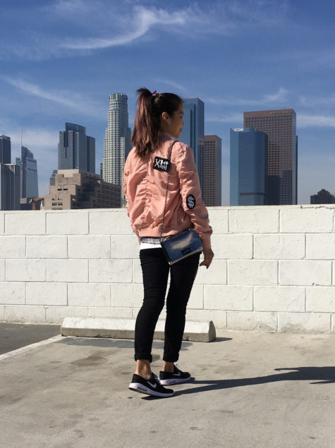 pink bomber with patches