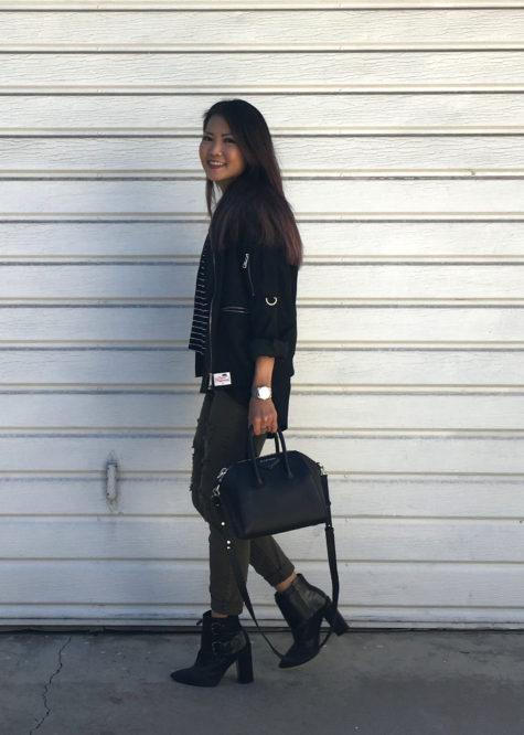 black bomber jacket, army jeans, givenchy antigona bag