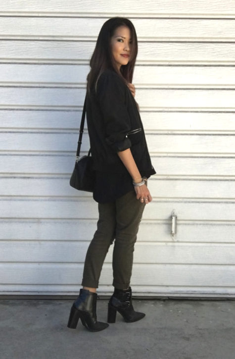 black bomber, olive jeans, tibi booties