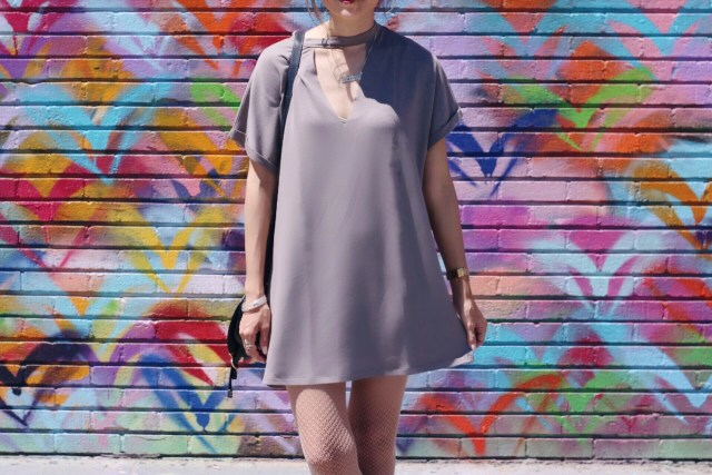 girl wearing forever 21 cutout tshirt dress