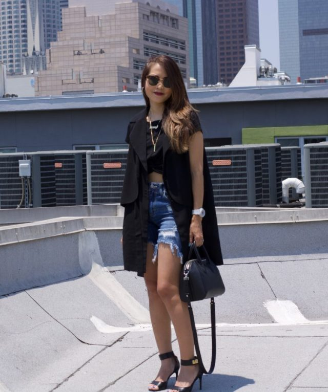 denim bermuda shorts outfit with trench vest