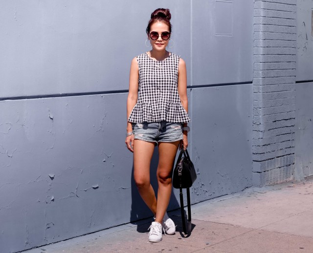 gingham top jean shorts outfit