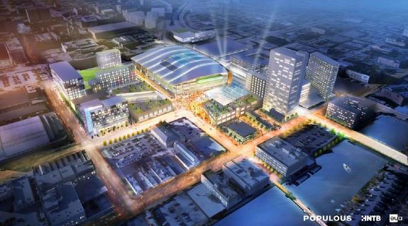 Rendering of proposed Milwaukee Bucks arena. Image via Urban Milwaukee