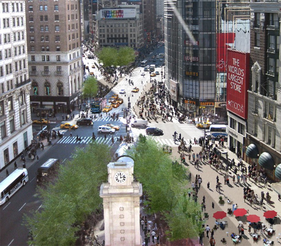 The new pedestrian plaza at Herald Square, NYC