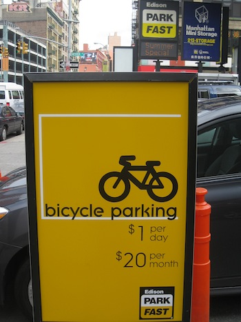 ParkFast advertises its bike parking at Hester and Centre Streets. Photo: Noah Kazis.