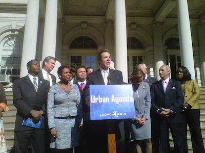 Andrew Cuomo announces his urban agenda and proceeds to promise more austerity for the MTA. Photo: Transportation Nation.