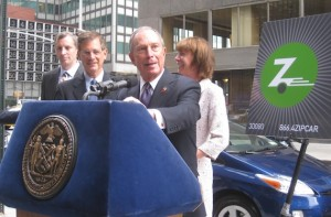 Mayor Bloomberg announces the city's car-sharing program, along with Zipcar president Mark Norman, Deputy Mayor Stephen Goldsmith, and DOT Commissioner Janette Sadik-Khan. Photo: Noah Kazis.