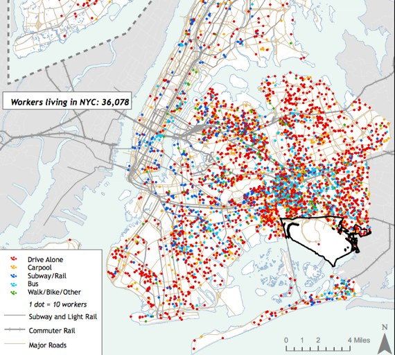 Each dot represents ten commuters going to work at JFK. The many red dots represent drivers, a majority of those going to the transit-poor airport. For a larger version, click here. Image: Pratt Center.