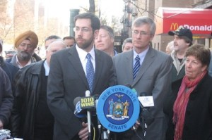 Sen. Daniel Squadron and Assm. Brian Kavanagh announce that bus lane cameras, which they helped shepherd through Albany, will be enforcing First and Second Avenue starting today. Photo: Office of Dan Squadron.