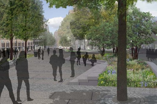 "A rendering shows the southern ""Village Plaza"" in use by people, not cars. Image: DDC."