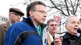 Transportation Committee Chair James Vacca at a rally against the 25-cent meter rate bump in December. Photo: