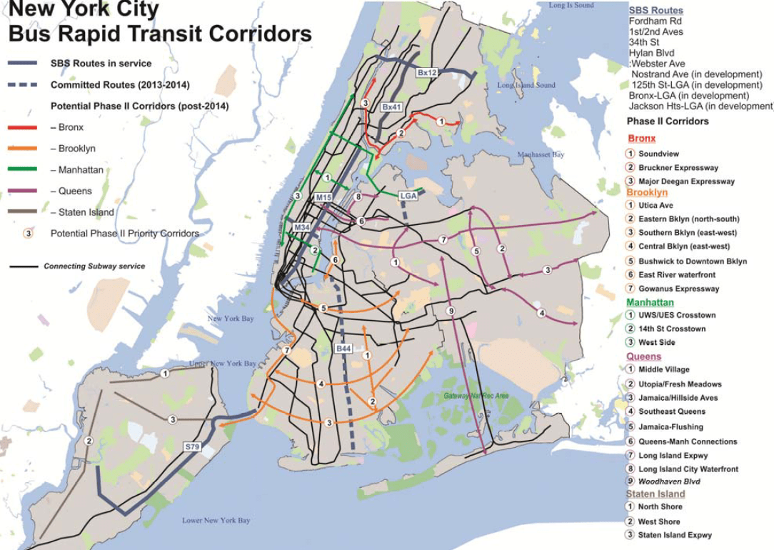 present . mta maps a fiveborough network for select bus service