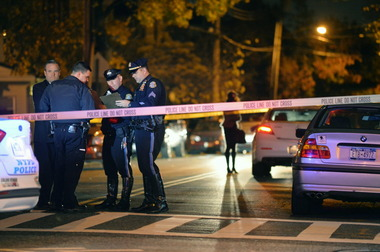 A witness to last night's crash said she narrowly escaped injury. NYPD had no information on whether the driver was charged or summonsed. Photo: Advance