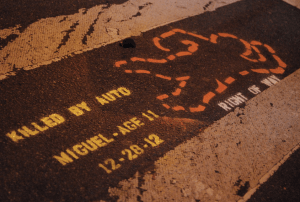 The advocacy group Right of Way stenciled markings to commemorate traffic violence victims along the march's route. Photo: Right of Way/Flickr
