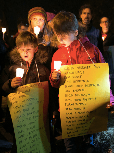 Marchers at last night's traffic safety protest in Fort Greene. Photo: Dmitry Gudkov