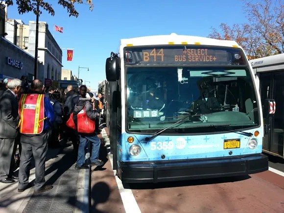 B44 SBS upgrades existing limited-stop service with bus lanes and other improvements. Photo: Stephen Miller