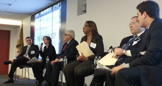 From left, Austin Shafran of the Working Families Party, Joan Byron of the Pratt Center, Mitchell Moss of NYU, Public Advocate-elect Letitia James, Rep. Jerrold Nadler, and City & State's Nick Powell. Photo: Stephen Miller
