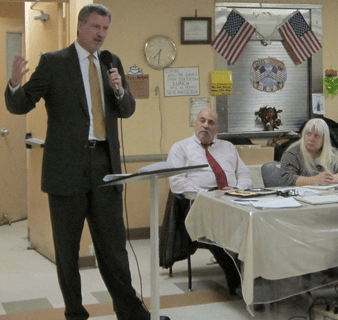 Public Advocate Bill de Blasio addresses Brooklyn Community Board 1 in 2011. Photo: Bill de Blasio