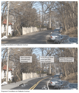 Some residents of Palisade Avenue are worried that the greenway plans could ruin the bucolic nature of their street. Image: NYMTC