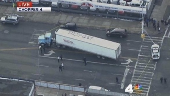 Unlicensed truck driver Mauricio Osorio-Palaminos killed Moshat Nahian, a third-grader who was walking to school this morning with his sister. Photo: WNBC via Daily News