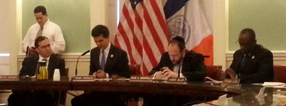 Ydanis Rodriguez at his first transportation committee meeting as chair earlier today. Photo: Stephen Miller